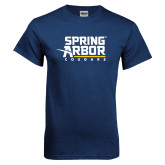 Navy T Shirt-Spring Arbor Cougars Stacked
