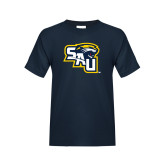 Youth Navy T Shirt-SAU stepped with Cougar Head