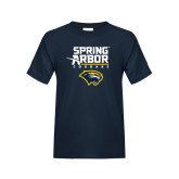 Youth Navy T Shirt-Spring Arbor Cougars Satacked with Head