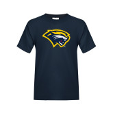 Youth Navy T Shirt-Cougar Head Distressed