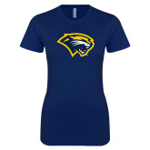 Next Level Ladies SoftStyle Junior Fitted Navy Tee-Cougar Head