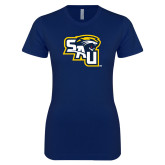 Next Level Ladies SoftStyle Junior Fitted Navy Tee-SAU stepped with Cougar Head