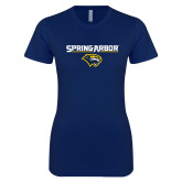 Next Level Ladies SoftStyle Junior Fitted Navy Tee-Spring Arbor with Head