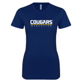 Next Level Ladies SoftStyle Junior Fitted Navy Tee-Cougars Athletics
