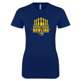 Next Level Ladies SoftStyle Junior Fitted Navy Tee-Bowling