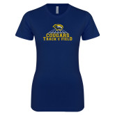 Next Level Ladies SoftStyle Junior Fitted Navy Tee-Track & Field