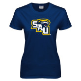 Ladies Navy T Shirt-SAU stepped with Cougar Head