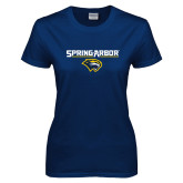 Ladies Navy T Shirt-Spring Arbor with Head