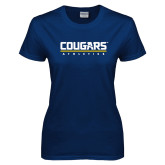 Ladies Navy T Shirt-Cougars Athletics