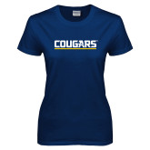 Ladies Navy T Shirt-Cougars