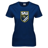 Ladies Navy T Shirt-Soccer Shield