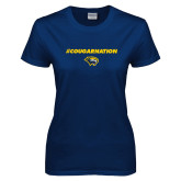 Ladies Navy T Shirt-Cougar Nation