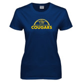 Ladies Navy T Shirt-Soccer