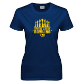 Ladies Navy T Shirt-Bowling