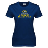 Ladies Navy T Shirt-Track & Field