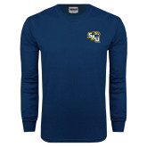 Navy Long Sleeve T Shirt-SAU stepped with Cougar Head