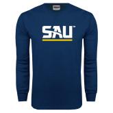 Navy Long Sleeve T Shirt-SAU