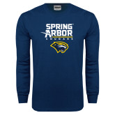 Navy Long Sleeve T Shirt-Spring Arbor Cougars Satacked with Head