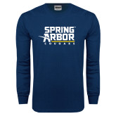 Navy Long Sleeve T Shirt-Spring Arbor Cougars Stacked