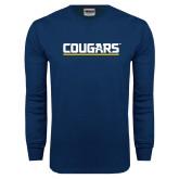 Navy Long Sleeve T Shirt-Cougars