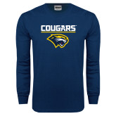 Navy Long Sleeve T Shirt-Cougars Stacked