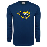 Navy Long Sleeve T Shirt-Cougar Head Distressed