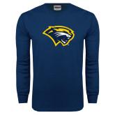 Navy Long Sleeve T Shirt-Cougar Head Distressed