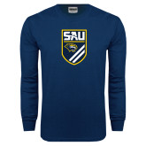 Navy Long Sleeve T Shirt-Soccer Shield