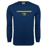 Navy Long Sleeve T Shirt-Cougar Nation