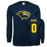 Navy Long Sleeve T Shirt-Cougar Head, Custom Tee w/ Name and #