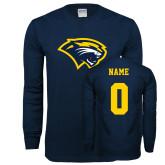 Navy Long Sleeve T Shirt-Cougar Head, Custom Tee w/ Name and #