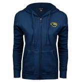 ENZA Ladies Navy Fleece Full Zip Hoodie-Cougar Head