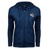 ENZA Ladies Navy Fleece Full Zip Hoodie-SAU stepped with Cougar Head