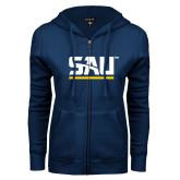 ENZA Ladies Navy Fleece Full Zip Hoodie-SAU