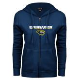 ENZA Ladies Navy Fleece Full Zip Hoodie-Spring Arbor with Head