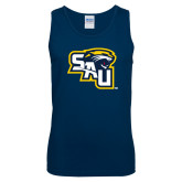 Navy Tank Top-SAU stepped with Cougar Head
