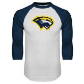 White/Navy Raglan Baseball T Shirt-Cougar Head