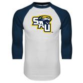 White/Navy Raglan Baseball T Shirt-SAU stepped with Cougar Head