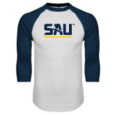 White/Navy Raglan Baseball T Shirt-SAU