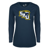 Ladies Syntrel Performance Navy Longsleeve Shirt-SAU stepped with Cougar Head