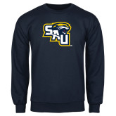 Navy Fleece Crew-SAU stepped with Cougar Head