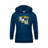 Youth Navy Fleece Hood-SAU stepped with Cougar Head