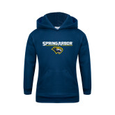 Youth Navy Fleece Hoodie-Spring Arbor with Head