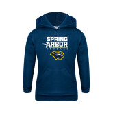 Youth Navy Fleece Hoodie-Spring Arbor Cougars Satacked with Head
