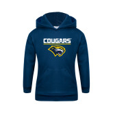 Youth Navy Fleece Hoodie-Cougars Stacked