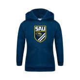 Youth Navy Fleece Hoodie-Soccer Shield