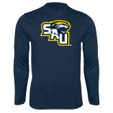 Syntrel Performance Navy Longsleeve Shirt-SAU stepped with Cougar Head