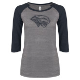 ENZA Ladies Athletic Heather/Navy Vintage Triblend Baseball Tee-Cougar Head Graphite Soft Glitter