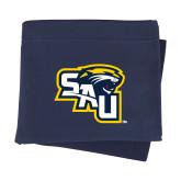 Navy Sweatshirt Blanket-SAU stepped with Cougar Head