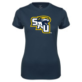 Ladies Syntrel Performance Navy Tee-SAU stepped with Cougar Head